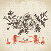 Rose. Hand drawn vintage design — Stock Vector