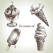 Ensemble de crème glacée. illustrations dessinées à la main — Vecteur