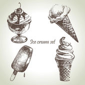 Ice cream set. Hand drawn illustrations — Stok Vektör