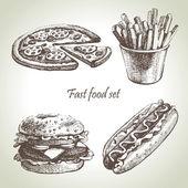 Conjunto de comida rápida. ilustraciones dibujadas a mano — Vector de stock