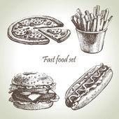 Fast food set. Hand drawn illustrations — Stockvektor