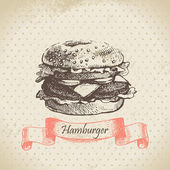 Hamburger. Hand drawn illustration — Stock Vector