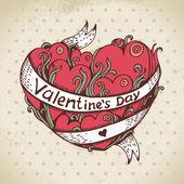 手描き下ろし心とビンテージ背景します。バレンタインの日カード — ストックベクタ