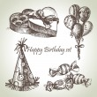 Happy Birthday set, hand drawn illustrations - Stockvectorbeeld