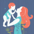 Beautiful mother silhouette with her baby with floral background - Imagen vectorial