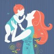 Beautiful mother silhouette with her baby with floral background - Grafika wektorowa