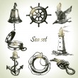 Seset of nautical design elements. Hand drawn illustrations — Vetorial Stock #17448389