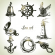 Sea set of nautical design elements. Hand drawn illustrations — Stock Vector