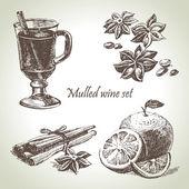Satz von glühwein, obst und gewürze, hand gezeichnete illustrationen — Stockvektor