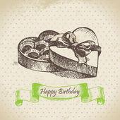 Box of chocolate. Happy Birthday hand drawn illustration — Stock Vector