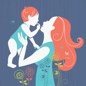 Beautiful mother silhouette with her baby with floral background — Vetor de Stock