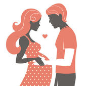 Silhouette of couple. Pregnant woman and her husband — Stock Vector