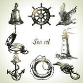 Sea set of nautical design elements. Hand drawn illustrations — Stock Vector