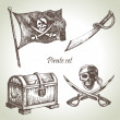 Pirates set. Hand drawn illustrations — Stock Vector