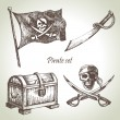 Pirates set. Hand drawn illustrations - Stock Vector