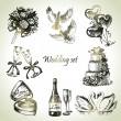 Wedding set. Hand drawn illustration - 图库矢量图片