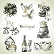 Wedding set. Hand drawn illustration - Stok Vektör
