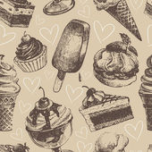Seamless pattern with ice cream and cakes — Stock Vector