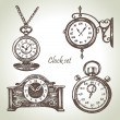 Hand drawn set of clocks and watches — Stock Vector #19979049