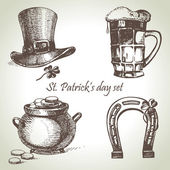 St. Patrick's Day set. Hand drawn illustrations — Stok Vektör