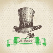 St. Patrick's Day vintage background. Hand drawn illustration — Stok Vektör