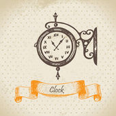 Street clock. Hand drawn illustration — Stock Vector