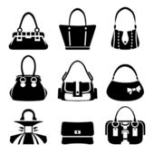 Vector icons of female bags — Stock Vector