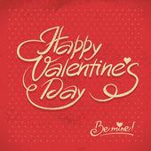 Happy Valentine's Day. Hand lettering in retro style — 图库矢量图片