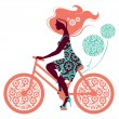 Silhouette of beautiful girl on bicycle - Stock Vector
