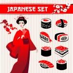Japanese set: traditional food sushi, geisha and branch of sakur — Stock Vector