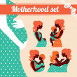Motherhood set. Silhouettes of mother and baby - Stock Vector