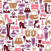 Seamless pattern with beauty female icons — Stock Vector