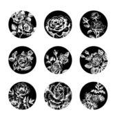 Ensemble de bannières florales. illustrations de roses dessinées à la main — Vecteur