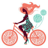 Silhouette of beautiful girl on bicycle — Stock Vector
