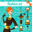 Fashion woman set — Stock Vector