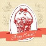 Vintage Easter background, hand drawn illustration. Easter greet — Stock Vector