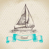 Vintage background with boat. Hand drawn illustration — Stok Vektör
