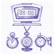 Vector de stock : Hand drawn set of clocks and watches