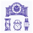 Stock Vector: Hand drawn set of clocks and watches
