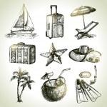 Travel set. Hand drawn illustrations — Stock Vector #22137973