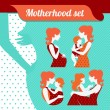 Motherhood set. Silhouettes of mother and baby — Stock Vector #22137993