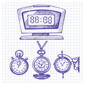 Hand drawn set of clocks and watches — Stock Vector