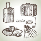 Travel set. Hand drawn illustrations — Stock Vector