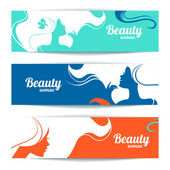 Banners with stylish beautiful woman silhouette. Template design — Stock Vector