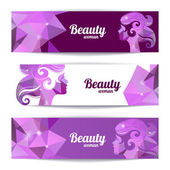 Banners with woman silhouette and triangle pattern. Template des — Stock Vector
