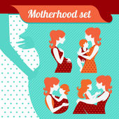 Motherhood set. Silhouettes of mother and baby — Stock Vector