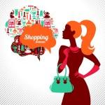 Shopping woman. Elegant stylish design — Stock Vector
