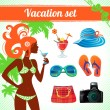 Vacation and travel icon set, infographics for modern women — Stock Vector