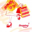 Watercolor shopping women design. Vintage background with beautiful girl. - Vettoriali Stock