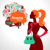 Shopping femme. élégant design élégant — Vecteur